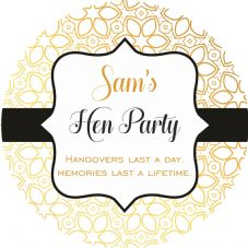 Hen Party Stickers, Gold/Black Personalised